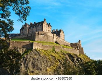 Edinburgh castle over clear blue sky, Scotland, UK