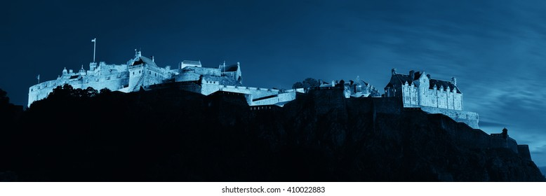 Edinburgh castle panorama as the famous city landmark. United Kingdom.