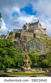 Edinburgh Castle, Scotland, from Princes Street Gardens, with the Ross Fountain in the foreground,UK, Europe