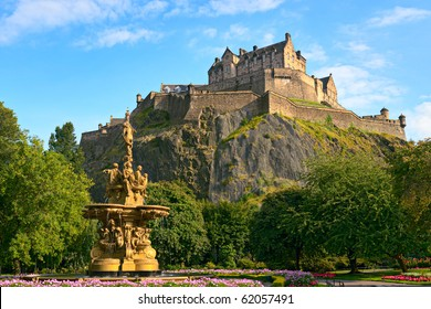 Edinburgh Castle, Scotland, from Princes Street Gardens, with the Ross Fountain in the foreground