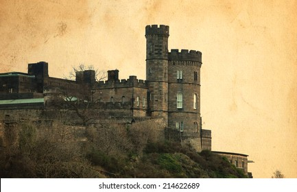 Edinburgh Castle, Scotland, vintage style