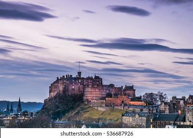 Edinburgh Castle at Sunset. Scotland, UK
