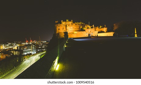 Edinburgh Castle with view of City in background by night, Horizontal Split Toning Photography