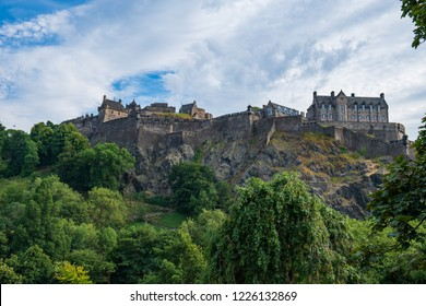Edinburgh Castle viewed from Princes Street Gardens on a beautiful summer afternoon