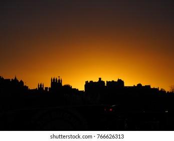 Edinburgh castle when sunset, Edinburgh city of Scotland, UK