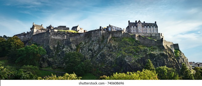 Edinburgh castle wide panoramic shot, Scotland, UK