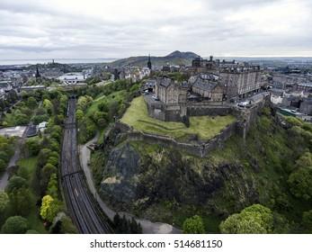Edinburgh city the historic Castle on Rock cloudy Day Aerial shot 5