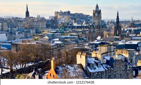 Edinburgh city landscape in winter with snow sprinkled on top of buildings. Edinburgh Scotland UK. October 2018