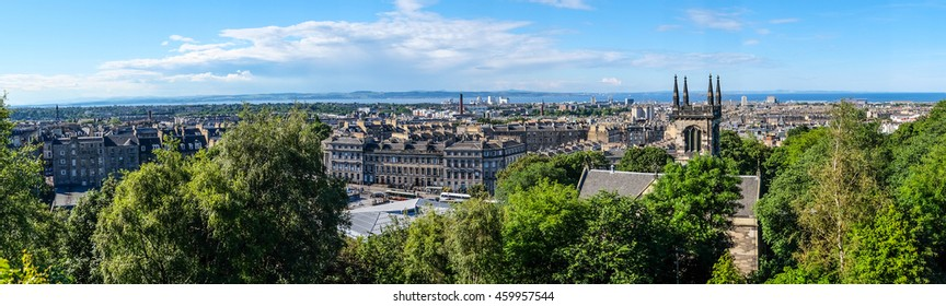 Edinburgh city in panorama view from Calton Hill, Scotland