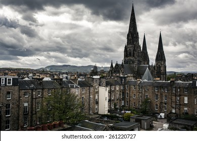 Edinburgh city view with cloudy sky, Scotland