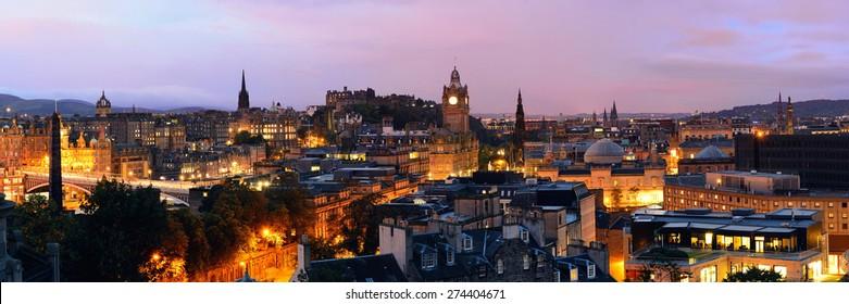 Edinburgh city view panorama at night in UK.