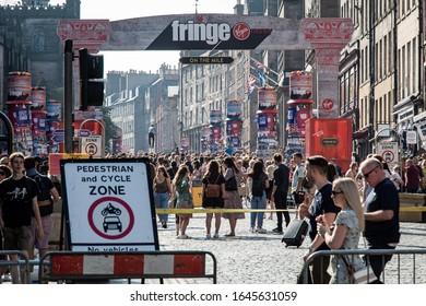 Edinburgh, Midlothian, Scotland - August 29 2019: Edinburgh Festival on the Royal Mile