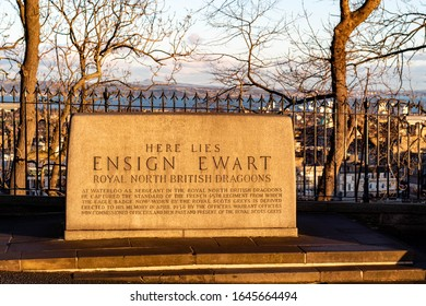 Edinburgh, MIdlothian, Scotland - February 4 2020:  Burial place of Ensign Ewart of the Royal North British Dragoons, on the Edinburgh Castle Esplanade. Decorated soldier who was a Sargent waterloo