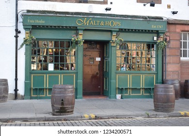 Edinburgh, Midlothian, Scotland - November 13th 2018: Old traditional pub The Malt and Hops in Leith by the shore, famous for real ale
