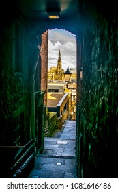 Edinburgh Narrow Street View Edinburgh Travel background