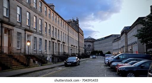 Edinburgh New town, Fettes Row, popular residential street, Edinburgh city centre. Scotland UK. august 2017