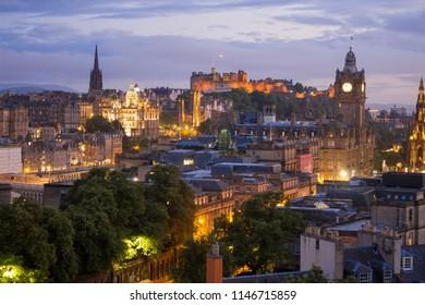 edinburgh at night scotland united kingdom northernmost country europe