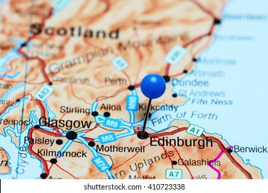 Edinburgh pinned on a map of Scotland