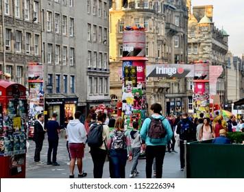 Edinburgh Royal Mile during the Fringe Festival, annual arts festival in Edinburgh city centre, Scotland uK. august 2018