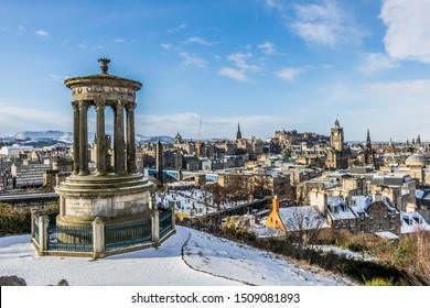 Edinburgh / Scotland - 02/28/2018: Snow in Edinburgh - view from Calton Hill