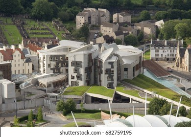 Edinburgh, Scotland - 05 July 2017: Cityscape Including Holyrood, Scottish Parliament, Look from hill in Holyrood Park