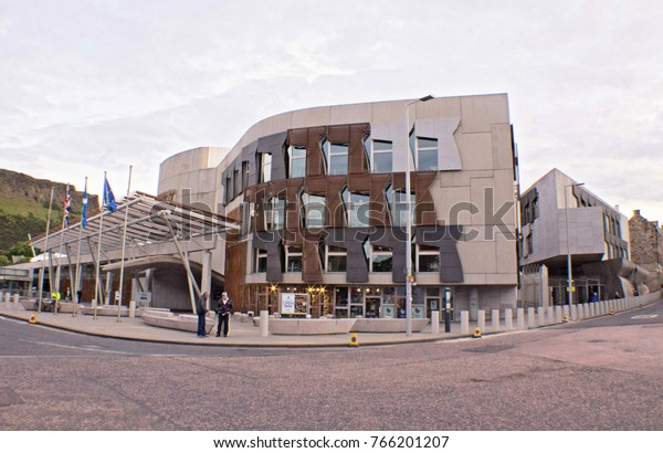 Edinburgh, Scotland - 05 July 2017: Holyrood Scottish Parliament, Look at the Front of Building from the Street