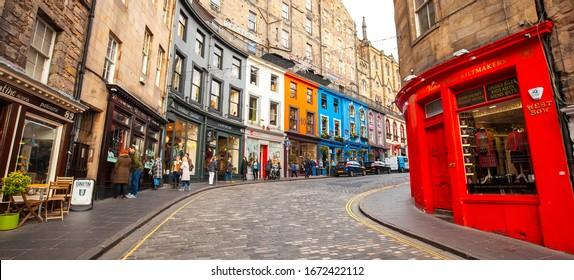 EDINBURGH, SCOTLAND - 12 October, 2019: West Bow and Victoria central street in Edinbourgh