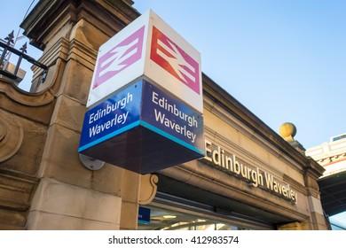 EDINBURGH, SCOTLAND - 20 APRIL 2016 - Edinburgh Waverley railway station.  Market Street Entrance.  The sign is isolated.