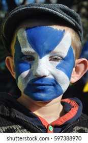 Edinburgh, Scotland 22 September 2012 - First Scottish Independence referendum march from the Meadows to Princes street gardens - child with Saltire face paint.