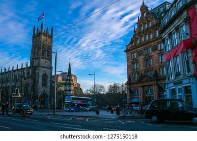 EDINBURGH, SCOTLAND: 29 December 2018 - View from Princes Street of Edinburgh Castle and Churches