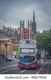 Edinburgh, Scotland -  30 August 2016 : Modern double deck bus operated by Lothian busses in the centre of Edinburgh