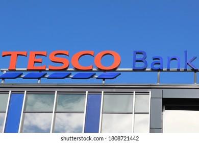 EDINBURGH, SCOTLAND - 4 September 2020 Sign Above the Tesco Bank Head Quarters