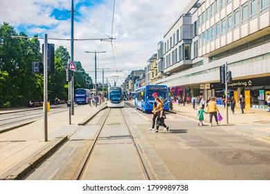 Edinburgh, Scotland 6th aug 2020 Public transport, i.e. buses, taxis and trams on Princes Street in Edinburgh.
