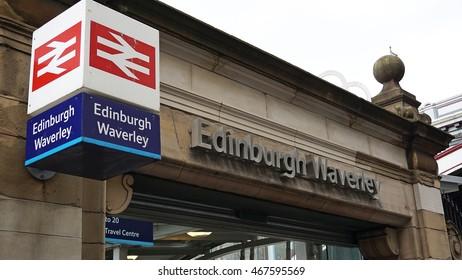 Edinburgh, Scotland 8 August 2016. Edinburgh Waverley railway station. Market Street entrance. The sign is isolated.