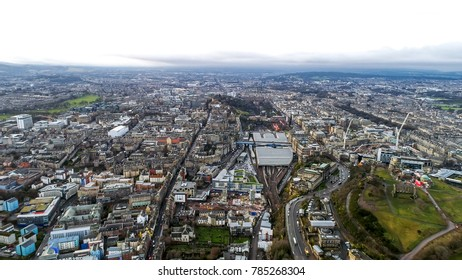 Edinburgh Scotland Aerial View Flying by Over the City feat. Iconic Scottish Landmarks Edinburgh Castle, National Museum, The University, Calton Hill Cityscape in UK