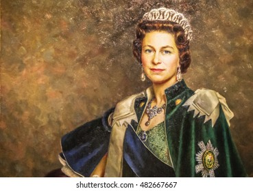 EDINBURGH, SCOTLAND - APRIL 2016 - Queen Elisabeth II, queen of England. Oil on Canvas, detail of a painted portrait in Edinburgh Castle.