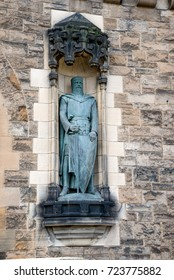 Edinburgh, Scotland, April 2016: William Wallace statue on the wall inside of Edinburgh Castle