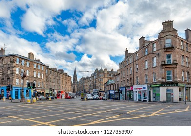 Edinburgh, Scotland - April 2018: 19th century Victorian tenement flats and historic buildings on Tollcross, a major road junction to the south west of the city centre of Edinburgh in Scotland, UK