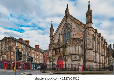 Edinburgh, Scotland - April 2018: Bedlam Theatre, the oldest student-run theatre in Britain and venue for the famous Edinburgh Fringe, housed in a former Neo-gothic church in central Edinburgh, UK