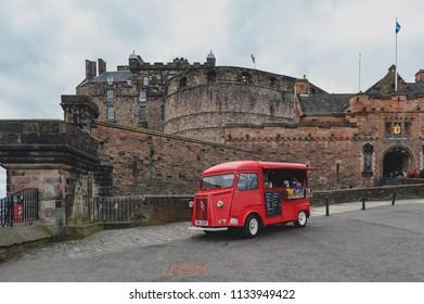 Edinburgh, Scotland - April 2018: Beverage and snacks vending van at the Esplanade in front of Gatehouse, the main entrance to Edinburgh Castle, Scotland, UK