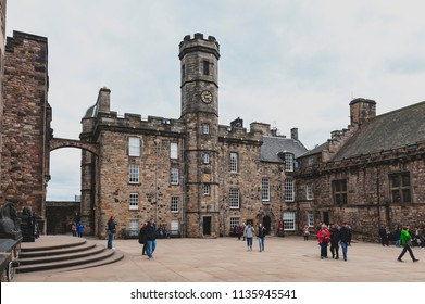 Edinburgh, Scotland - April 2018: The Crown Square comprised of Scottish National War Memorial, Royal Palace, Great Hall, and Queen Anne Building inside Edinburgh Castle, Scotland, UK