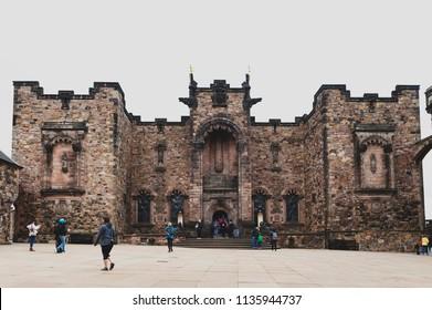 Edinburgh, Scotland - April 2018: Front facade of Scottish National War Memorial opposite Royal Palace at Crown Square inside Edinburgh Castle, Scotland, UK