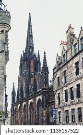 Edinburgh, Scotland - April 2018: Tron Kirk, former gothic church, now The Hub, venue for various events and festivals on Royal Mile, touristic street of Old Town Edinburgh City in Scotland, UK
