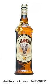 EDINBURGH, SCOTLAND APRIL 26, 2014: photo of a bottle of Amarula cream liqueur in Edinburgh, Scotland. Amarula is a famous cream liqueur from South Africa and is made using the marula fruit.