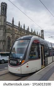 Edinburgh, Scotland - August 08 2019: A tram at the York place station in Edinburgh. It is part of the Edinburgh's public transport