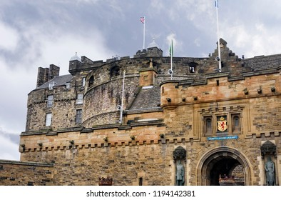 Edinburgh, Scotland - August 14, 2018:  Edinburgh Castle is a historic fortress which sits on Castle Rock.  It remains a large part of Scotlands national heritage.