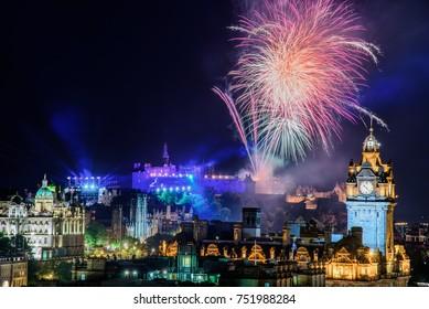 Edinburgh, Scotland - August 15 2017: The scenic summer fireworks in Edinburgh during the Royal Military Tattoo and Fringe Festival.