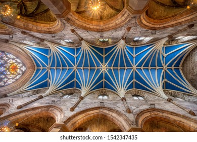Edinburgh, Scotland - August 17 2018: Interior ceiling and arches of St. Giles Cathedral in Edinburgh, Scotland freshly painted and wide look