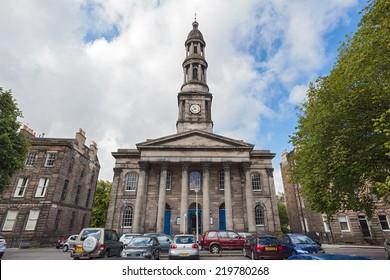 EDINBURGH, SCOTLAND: AUGUST 3, 2014: Broughton St. Mary's Parish church at Bellevue Crescent.