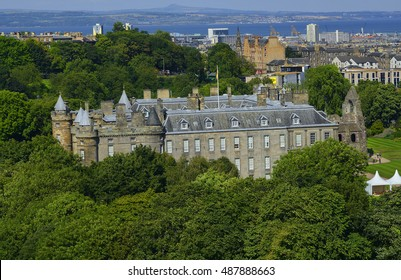 EDINBURGH, SCOTLAND - AUGUST 30, 2016: Palace of Holyroodhouse is residence of the Queen in Edinburgh, United Kingdom. Edinburgh is UNESCO World Heritage Site